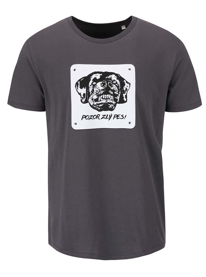 Tmavosivé pánske tričko ZOOT Originál Pozor, zlý pes