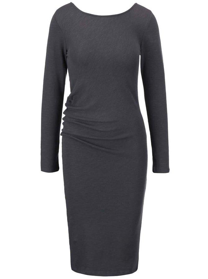 Tmavě šedé přiléhavé asymetrické šaty YAYA