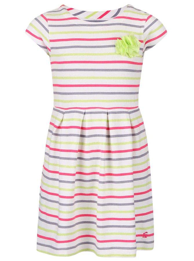 Barevné holčičí šaty se zelenou květinou Tom Joule