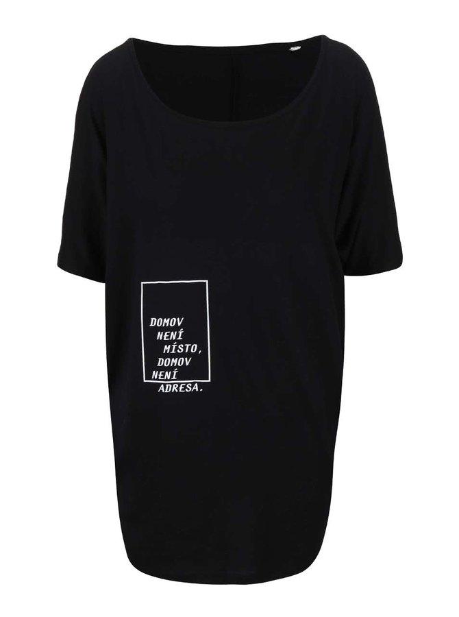 """""""Dobré"""" čierne dámske oversized tričko pre Jeden Svět"""
