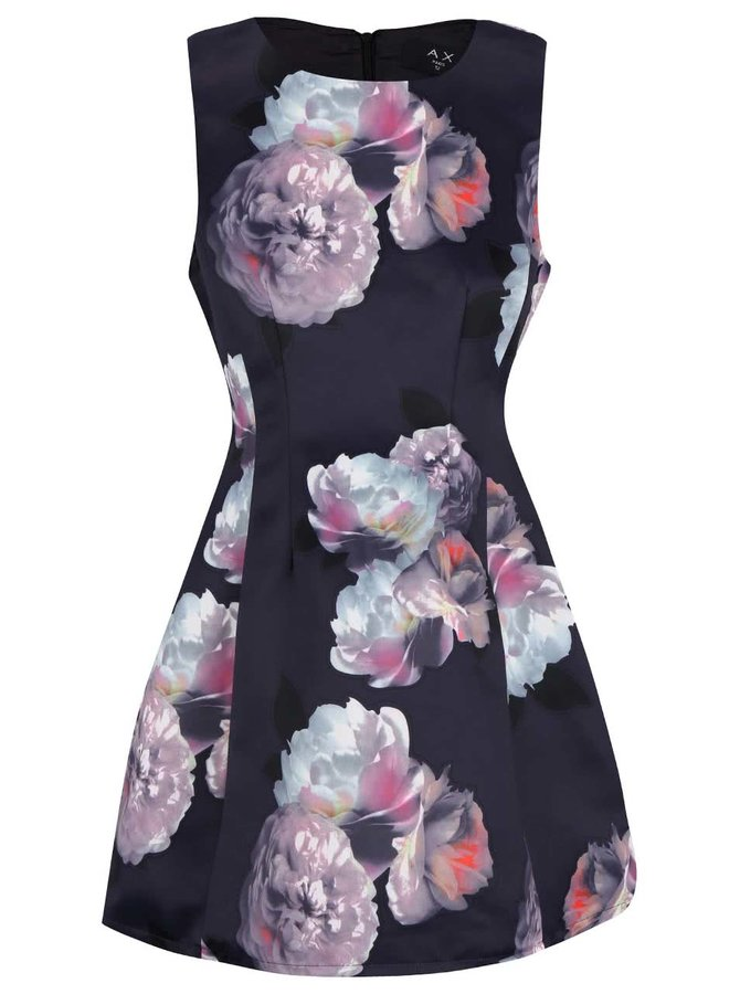 Tmavomodré šaty s kvetmi v pastelových farbách AX Paris