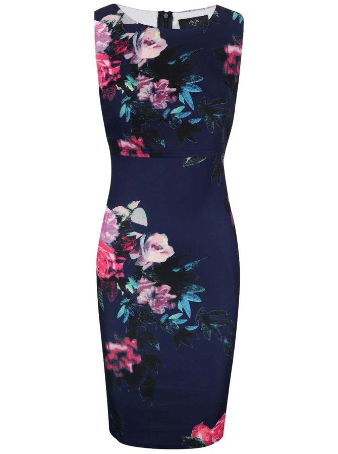 Tmavě modré květované šaty s dvojitým topem AX Paris