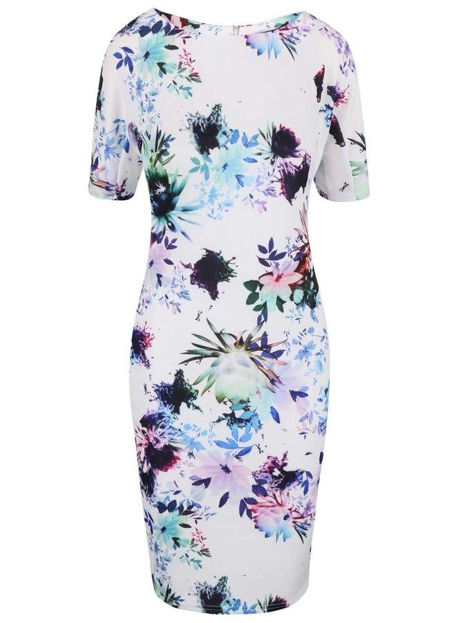 Bílé květované šaty s krátkým rukávem AX Paris