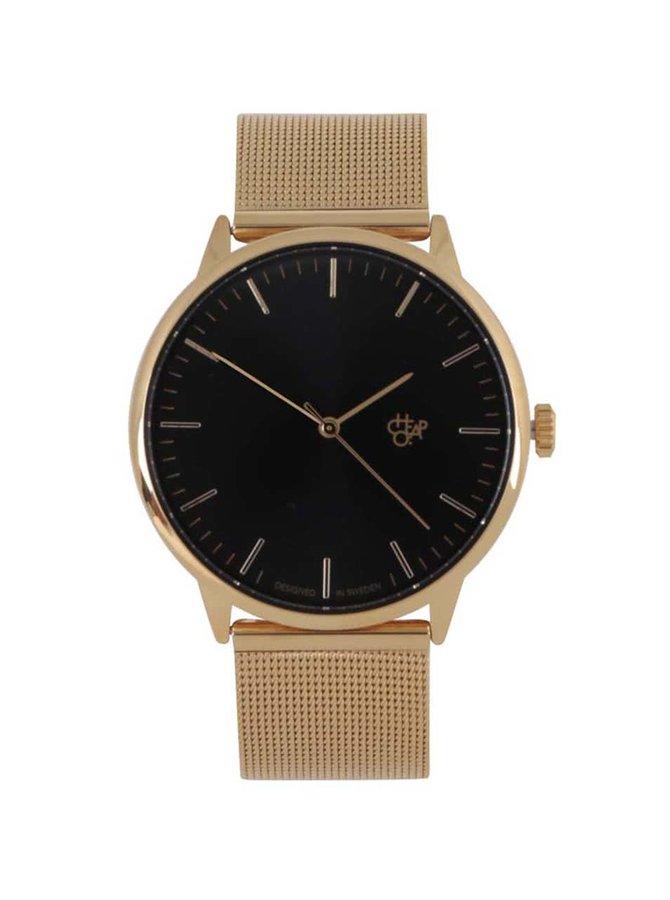 Unisex hodinky ve zlaté barvě s nerezovým páskem Cheapo Nando Gold
