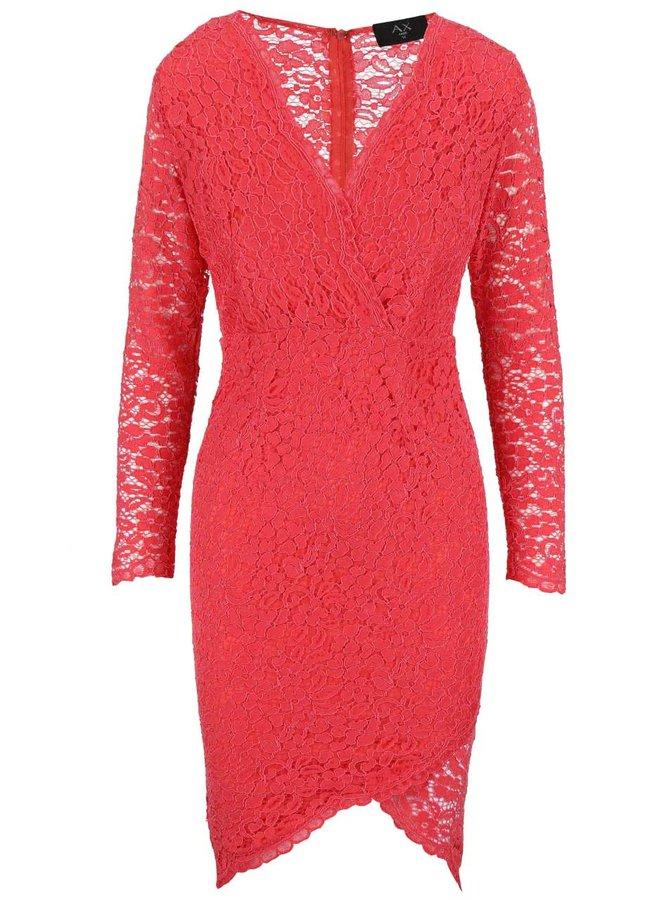 Koralové čipkované šaty s dlhým rukávom AX Paris