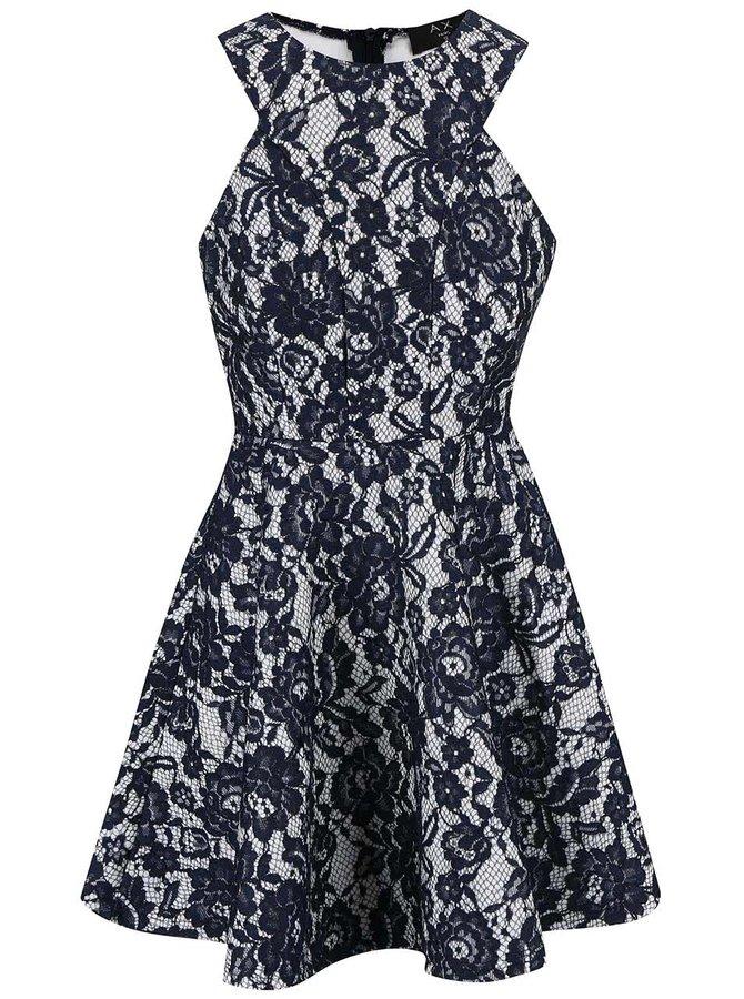Bielo-modré čipkované šaty AX Paris