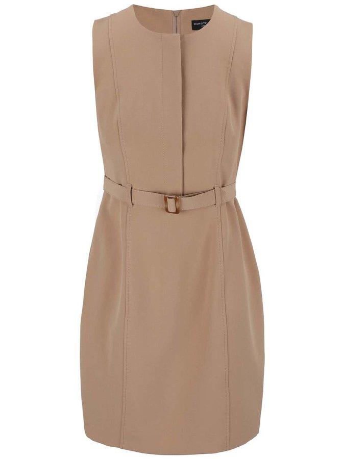Světle hnědé midi šaty s páskem Dorothy Perkins