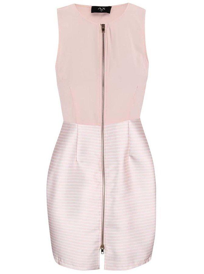 Růžové šaty s pruhovanou sukní AX Paris