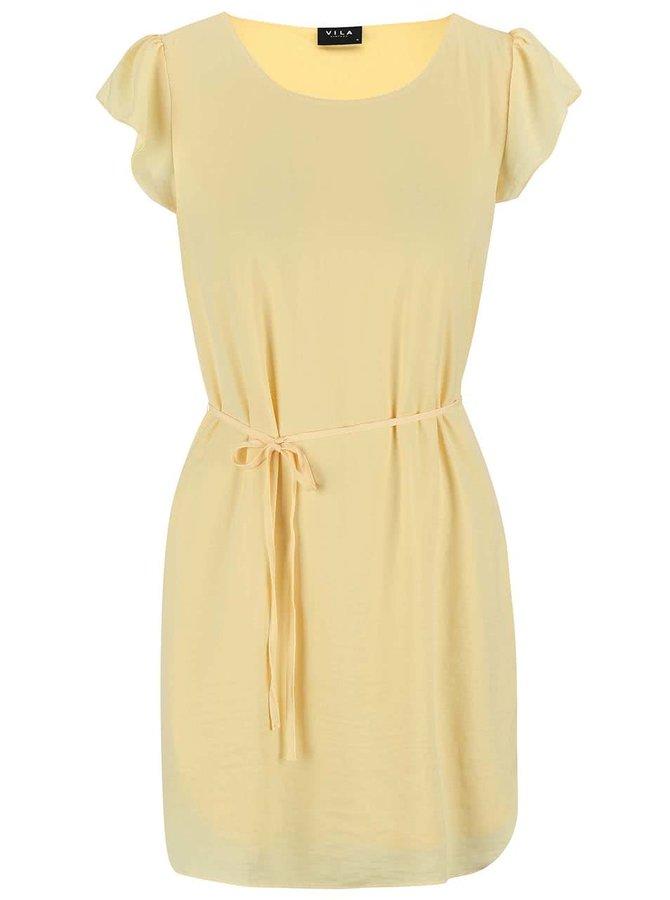 Žluté šaty se zavazováním VILA Pocka