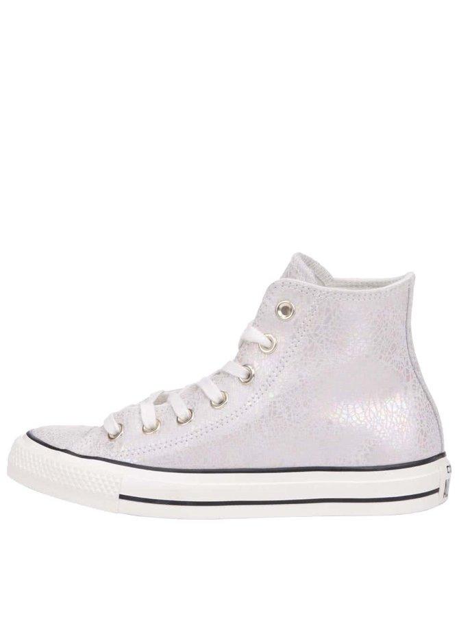 Teniși de damă Converse Chuck Taylor All Star argintiu/crem, din piele