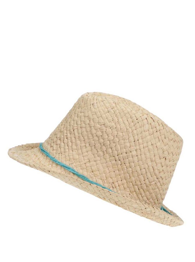 Pălărie de paie INVUU London cu șnur turcoaz