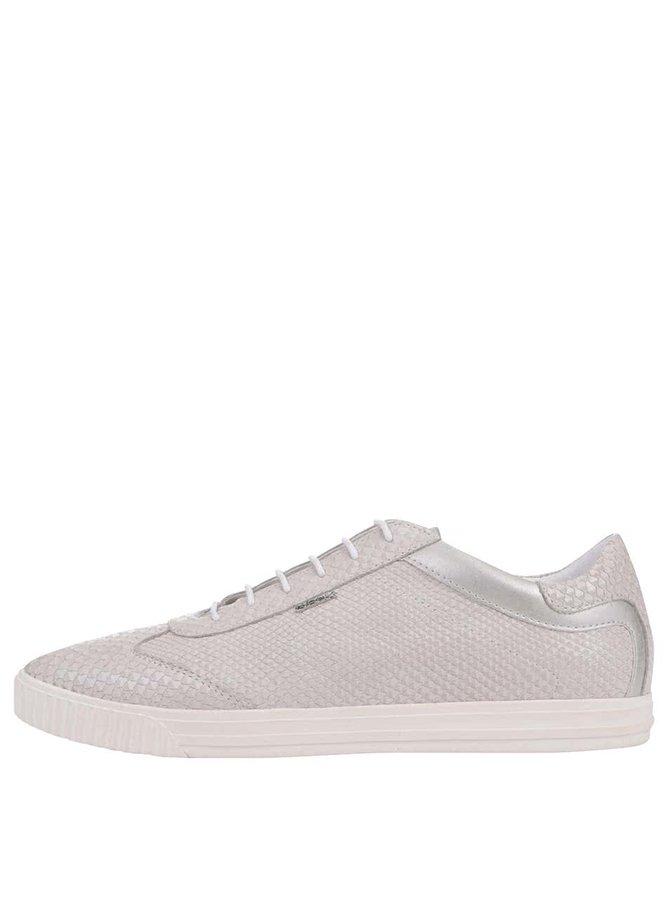 Pantofi sport Geox Amalthia gri deschis, din piele