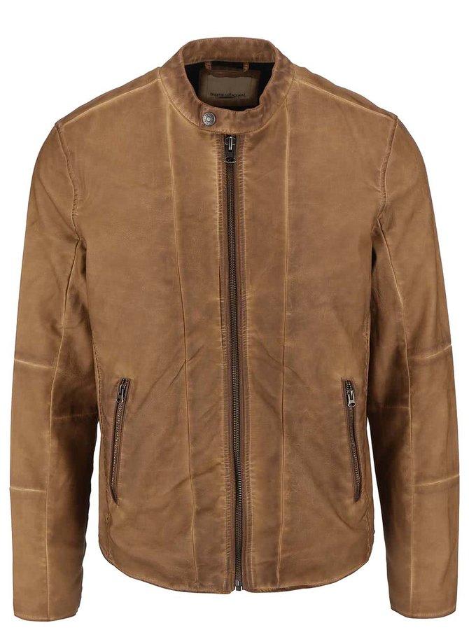Světle hnědá koženková bunda Shine Original Travis