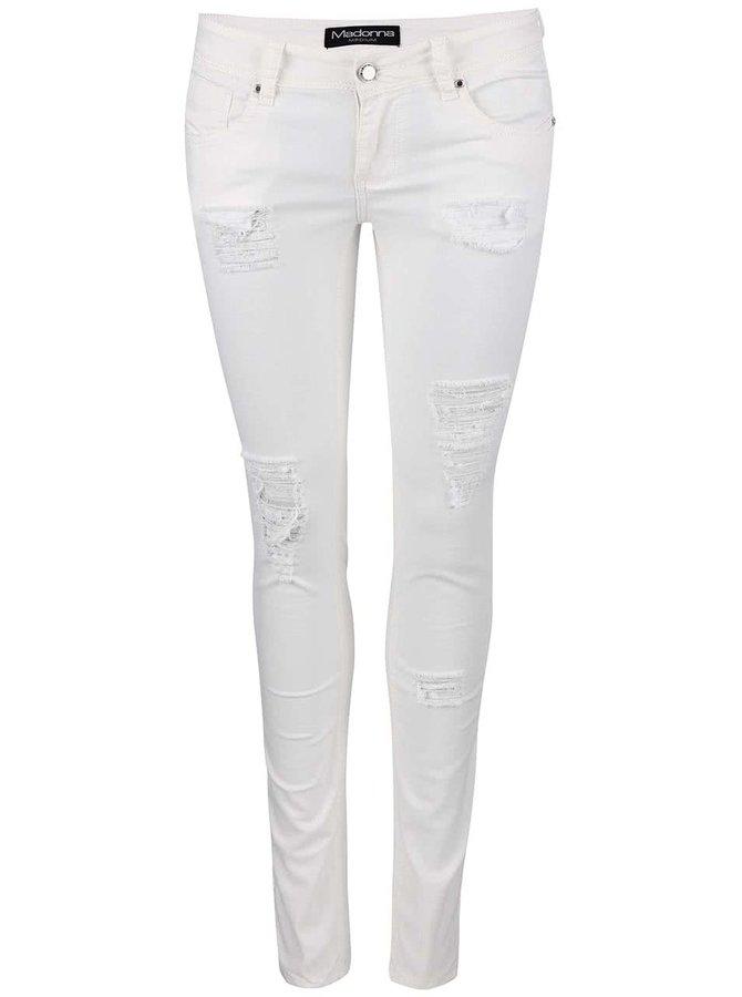 Bílé džíny s potrhaným efektem Madonna