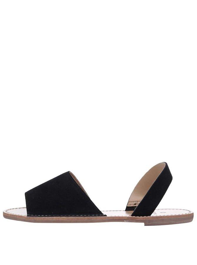 Černé kožené sandálky Pieces Sevey