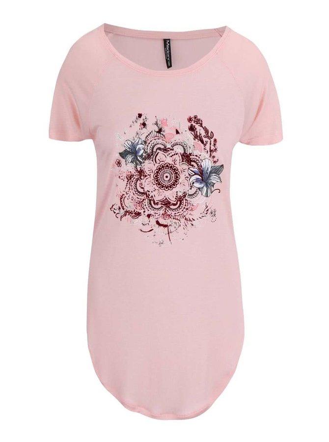 Růžové tričko s květovaným potiskem Madonna Adela