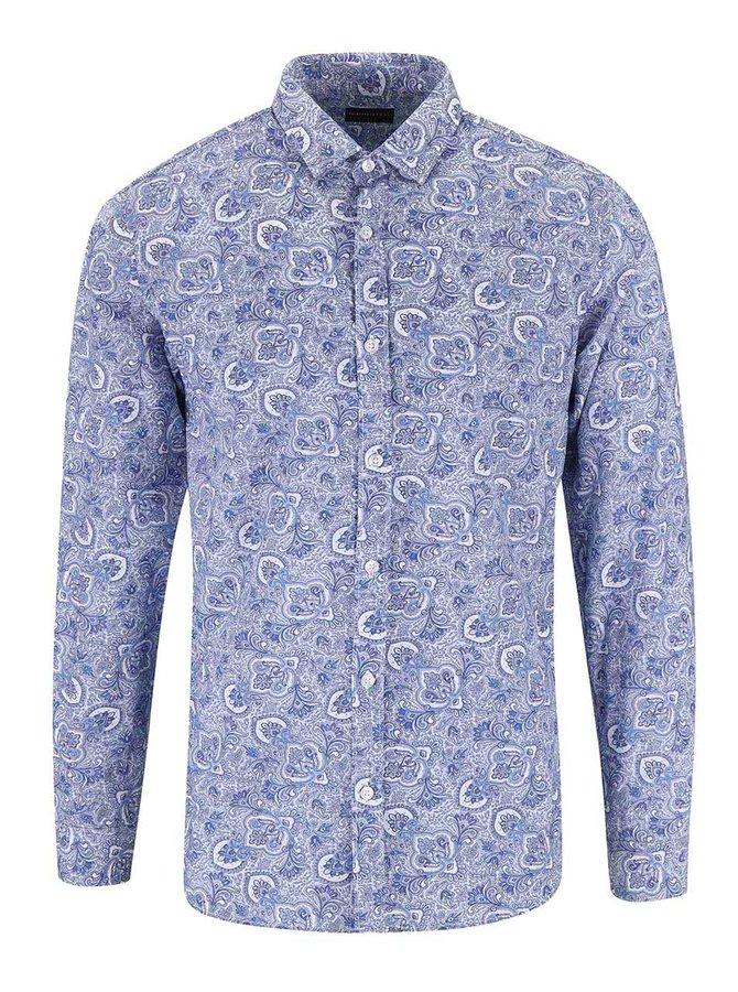 Bielo-modrá vzorovaná košeľa Selected Homme One Tom