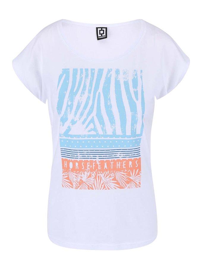 Bílé tričko s potiskem Horsefeathers Pemba