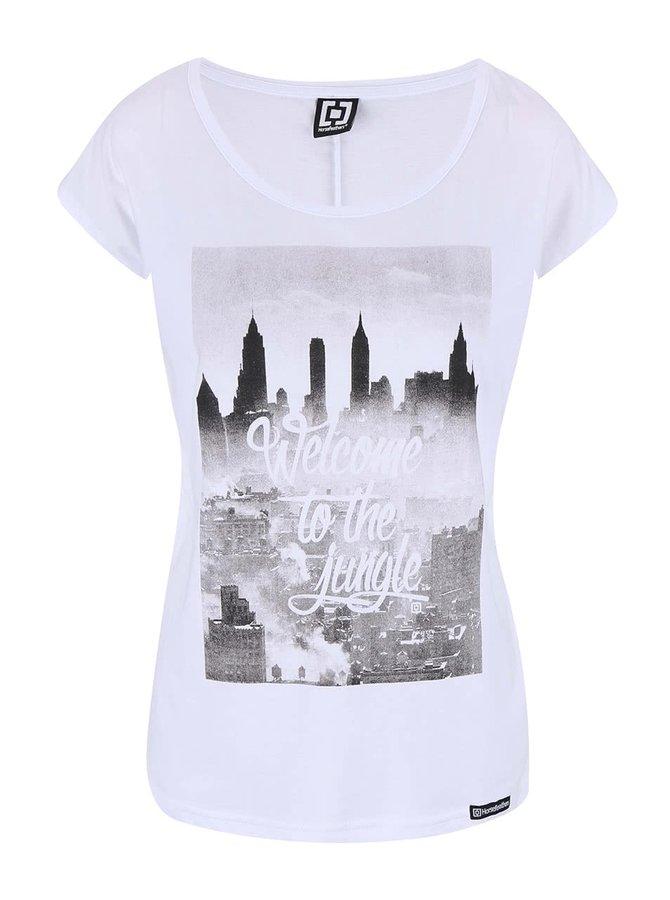 Bílé tričko s potiskem Horsefeathers The Town