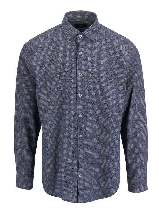 Modrá pánská košile s drobným vzorem bugatti