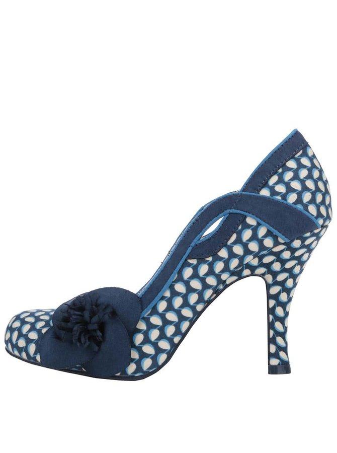 Modré vzorované lodičky s květinou Ruby Shoo Issy