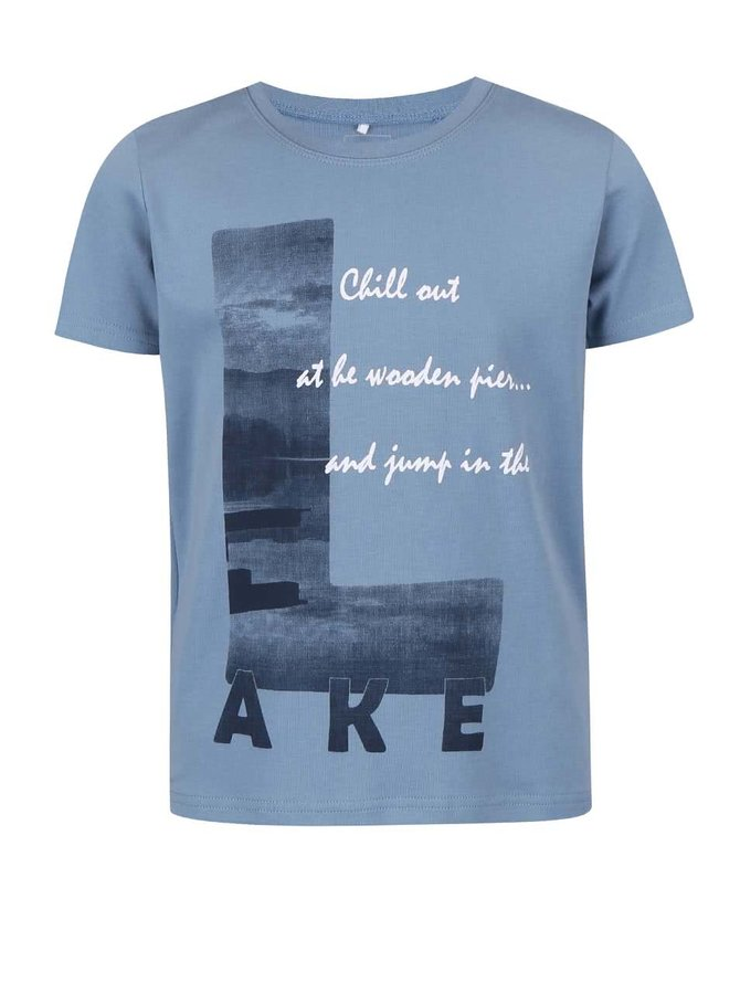 Tricou name it Victor albastru cu print pentru băieți