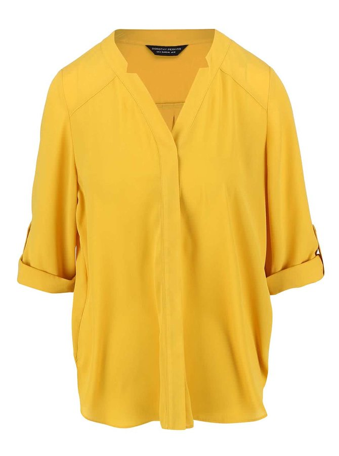 Žltá blúzka s dlhšími rukávmi Dorothy Perkins