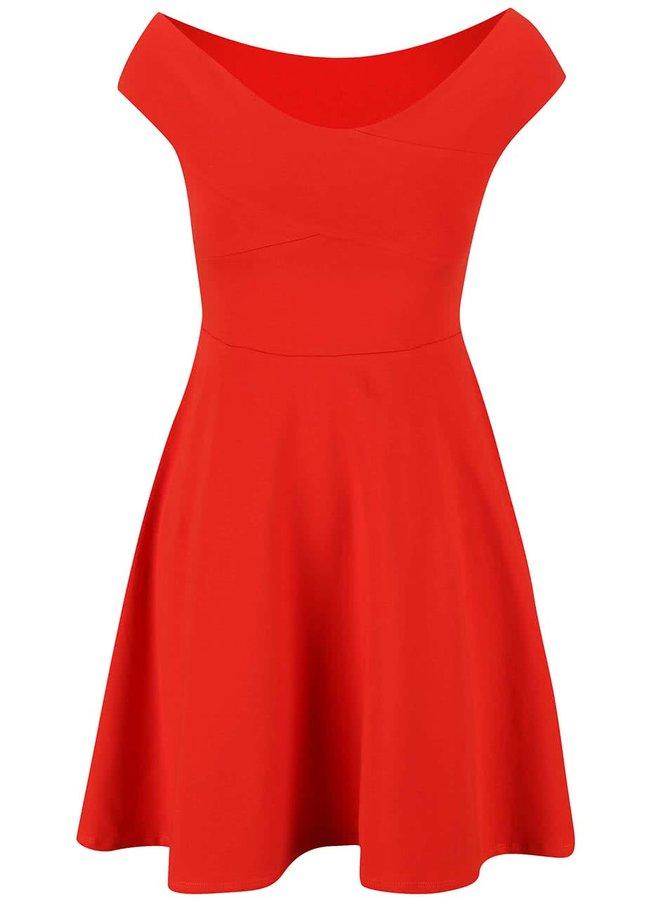 Červené šaty s lodičkovým výstřihem Dorothy Perkins
