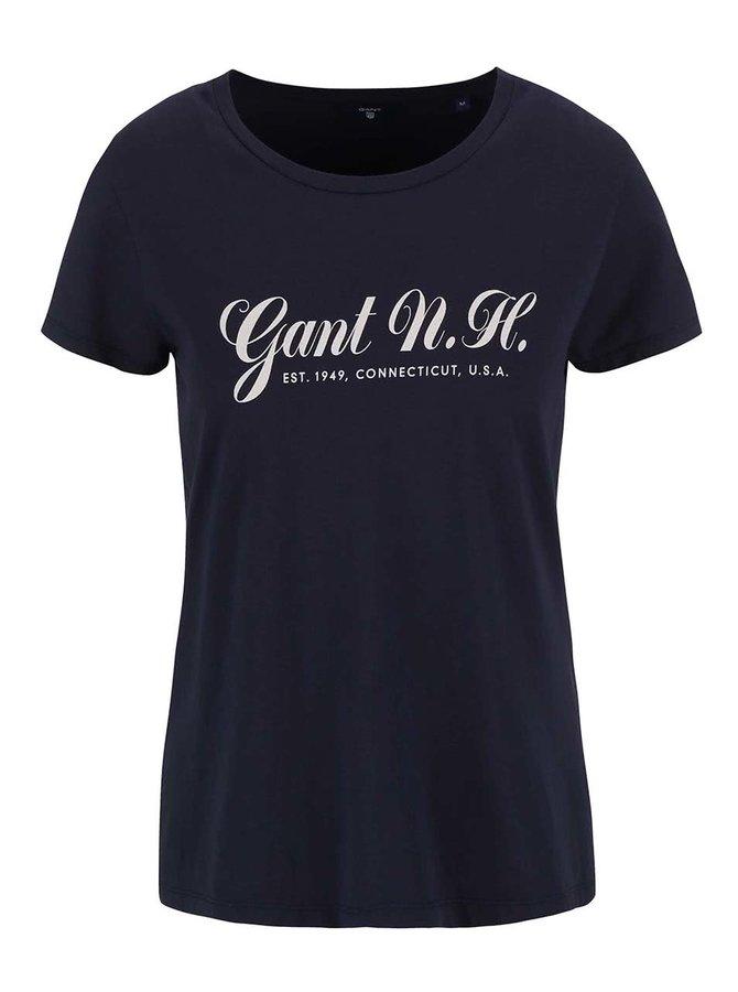 Tmavě modré dámské tričko s potiskem GANT