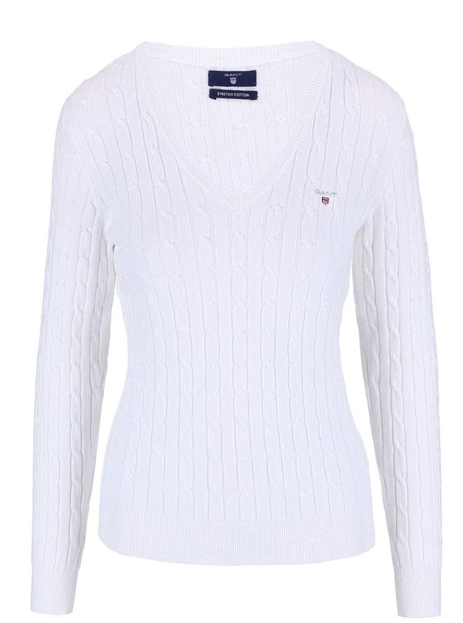 Bílý svetr s výstřihem do V GANT