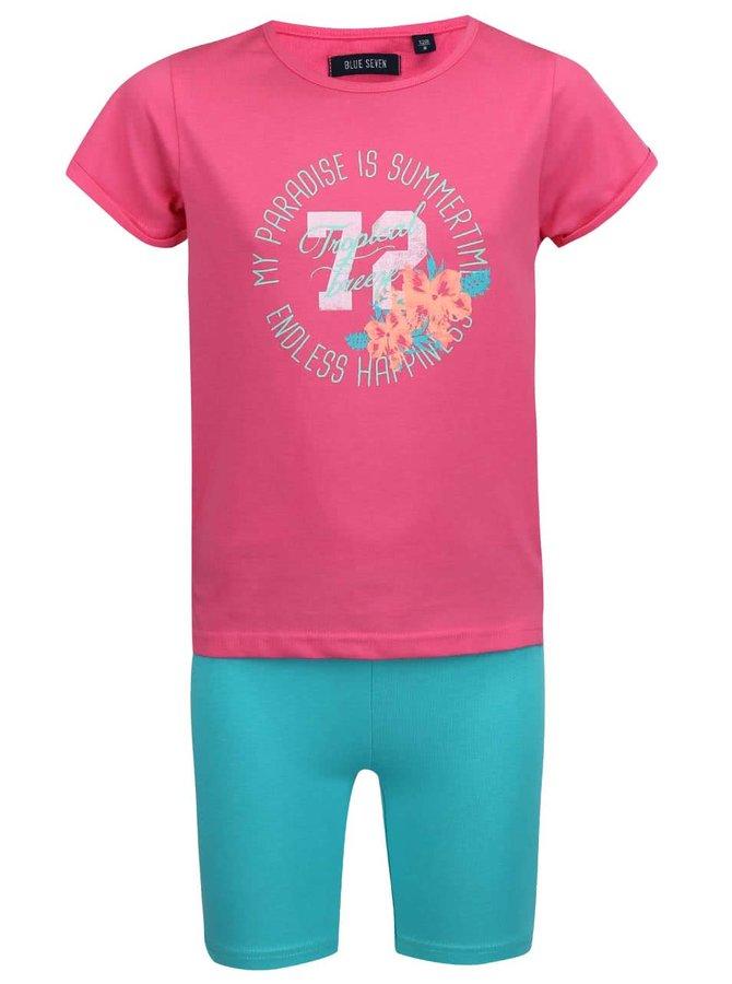 Set růžového holčičího trička se zelenými kraťasy Blue Seven