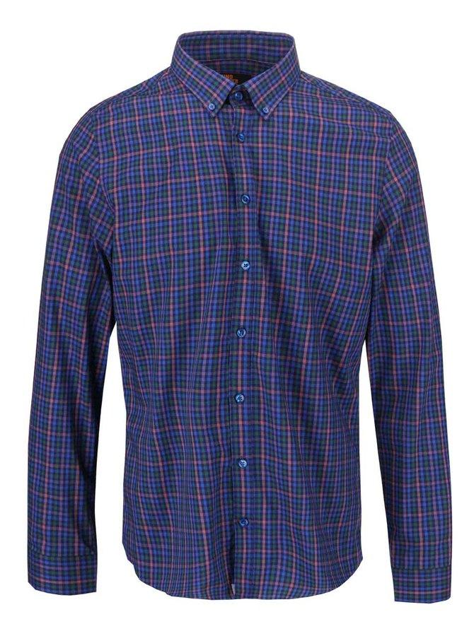 Ružovo-modrá károvaná košeľa Seidensticker BD Uno Super Slim