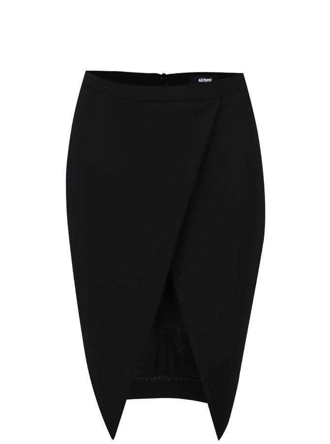 Čierna sukňa s rozparkom Alchymi Acrux