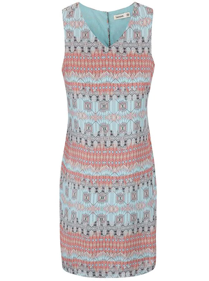 Meruňkovo-modré vzorované šaty Lavand