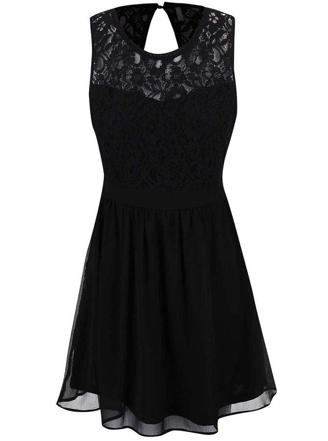 Černé šaty s krajkovým topem ONLY Isa
