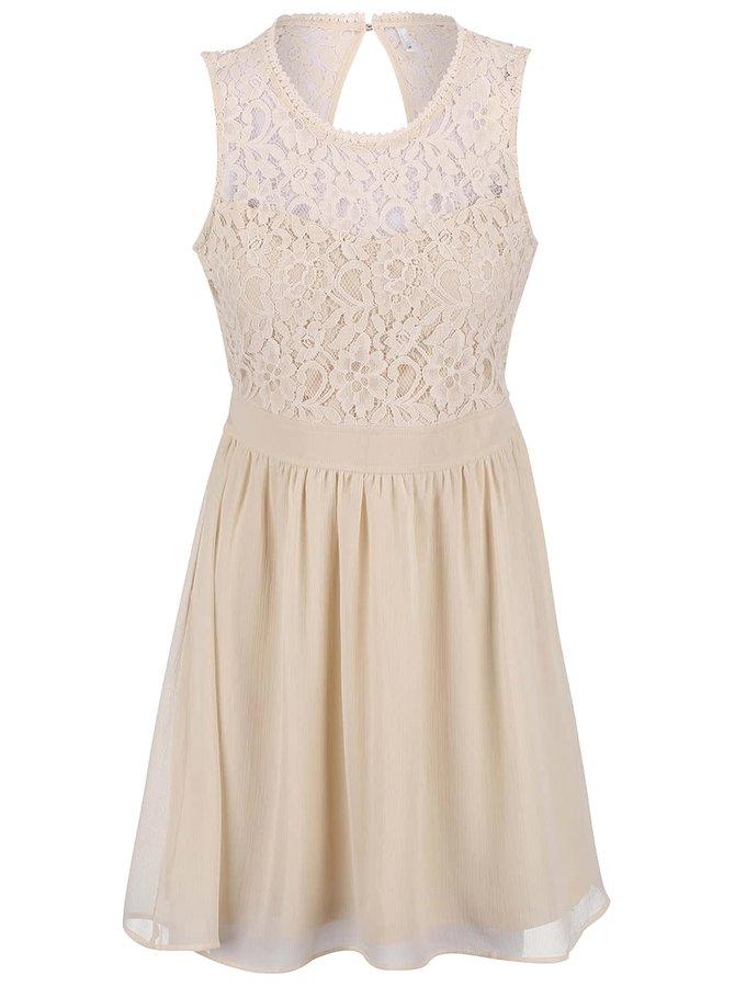 Krémové šaty s krajkovým topem ONLY Isa