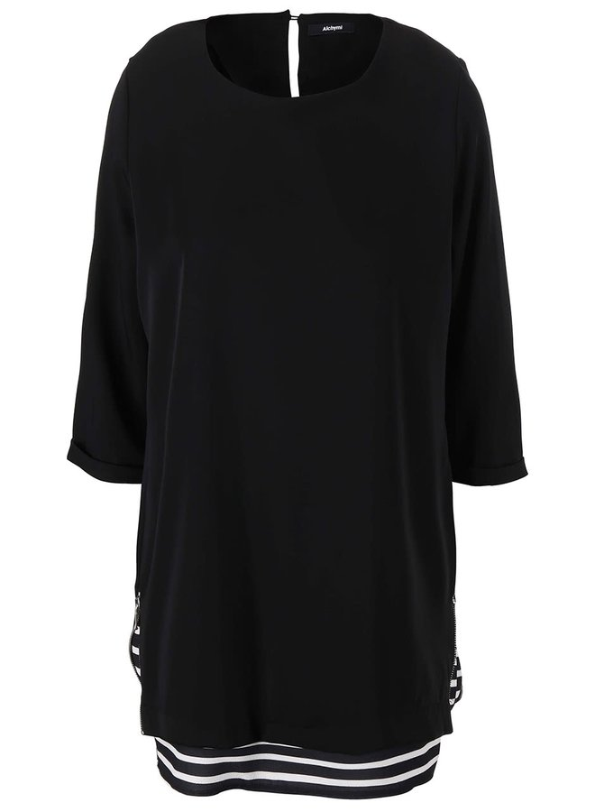 Černé šaty s pruhovaným lemem Alchymi Volantis