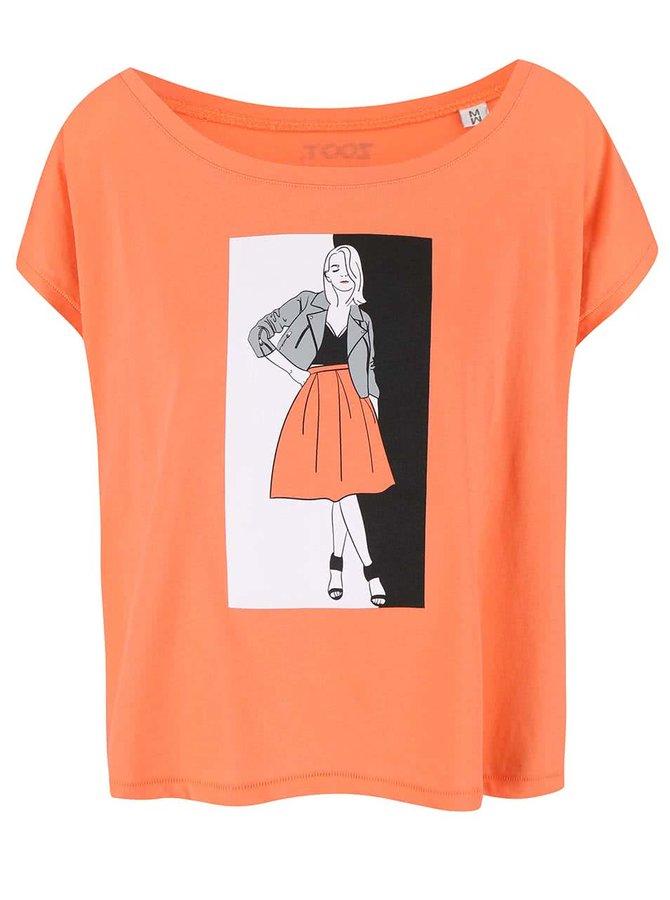Korálové dámské volnější tričko ZOOT Originál Fashion
