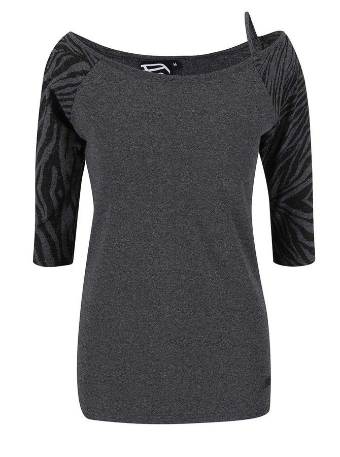 Šedé dámské tričko s černými rukávy Funstorm Ibule