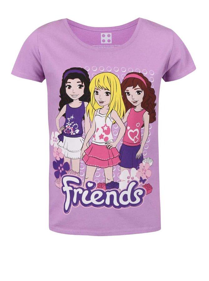 Tricou pentru fete LEGO Wear Friends mov cu imprimeu