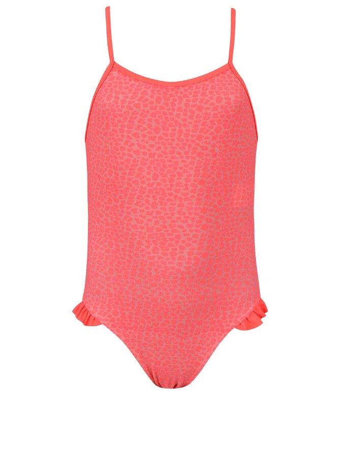 Neónové jednodielne dievčenské šaty so vzorom name it Zujungle