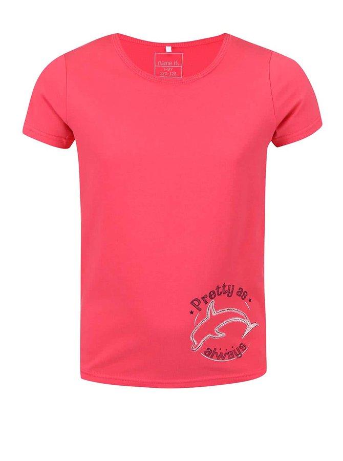 Červené dievčenské tričko s delfínom name it Vix