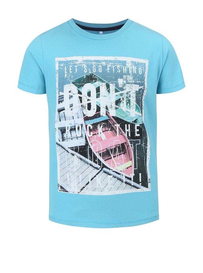 Modré chlapčenské tričko s potlačou name it Gorten