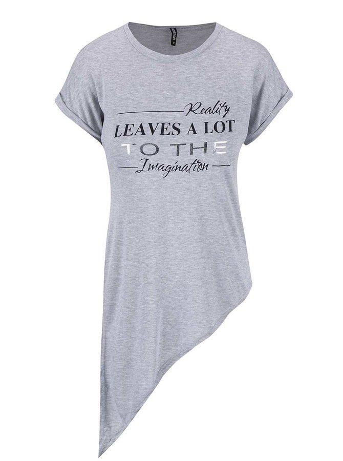 Světle šedé asymetrické tričko s potiskem Haily´s Candy