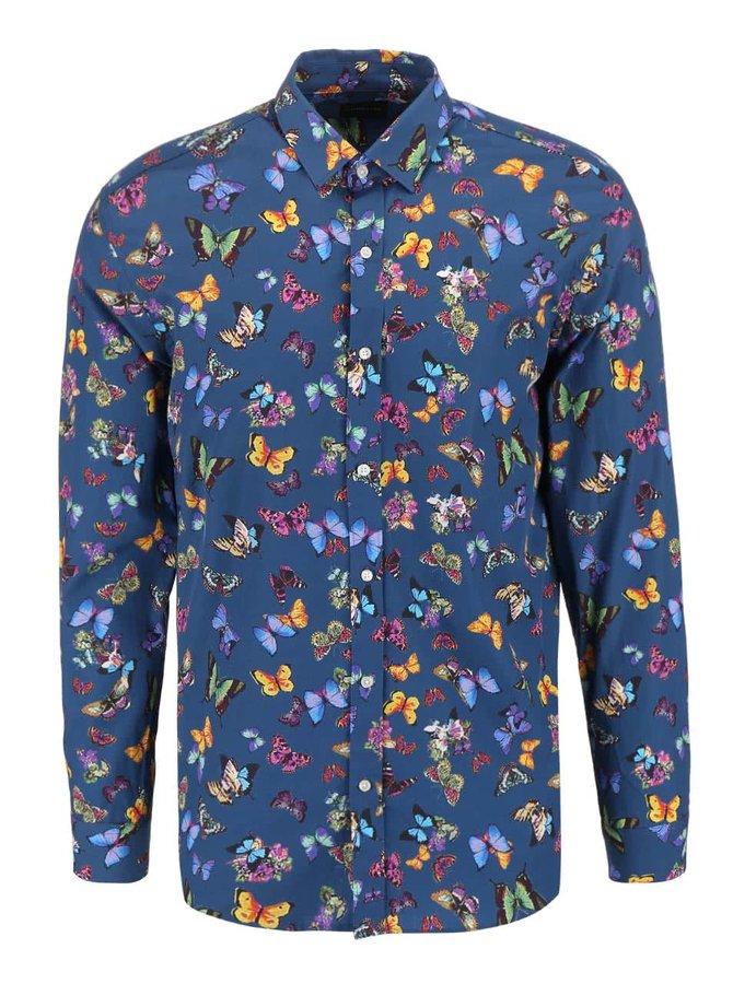 Modrá košeľa s potlačou motýľov Selected Homme One Butterfly