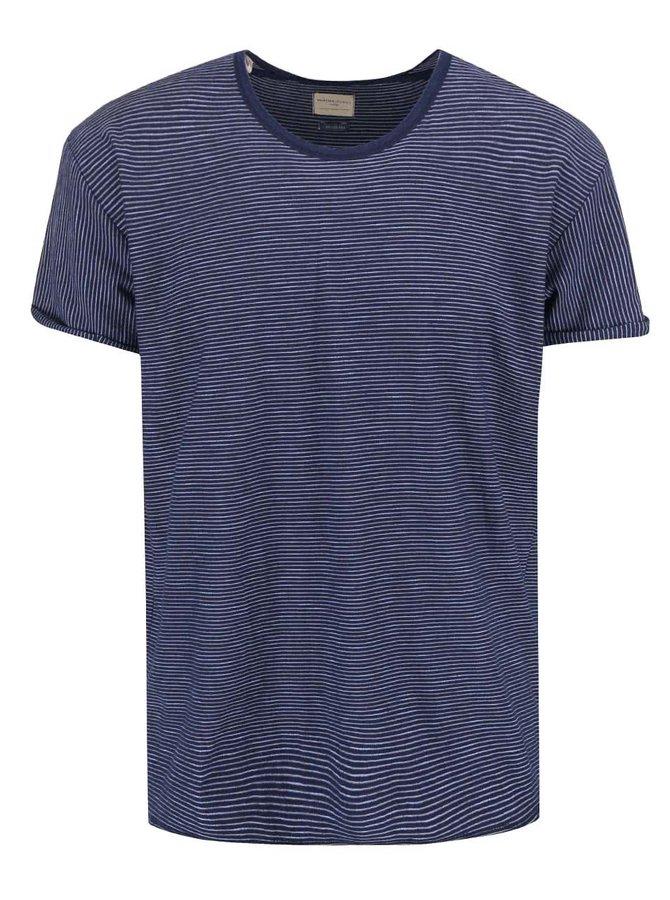 Tmavomodré pruhované tričko Selected Homme Lane