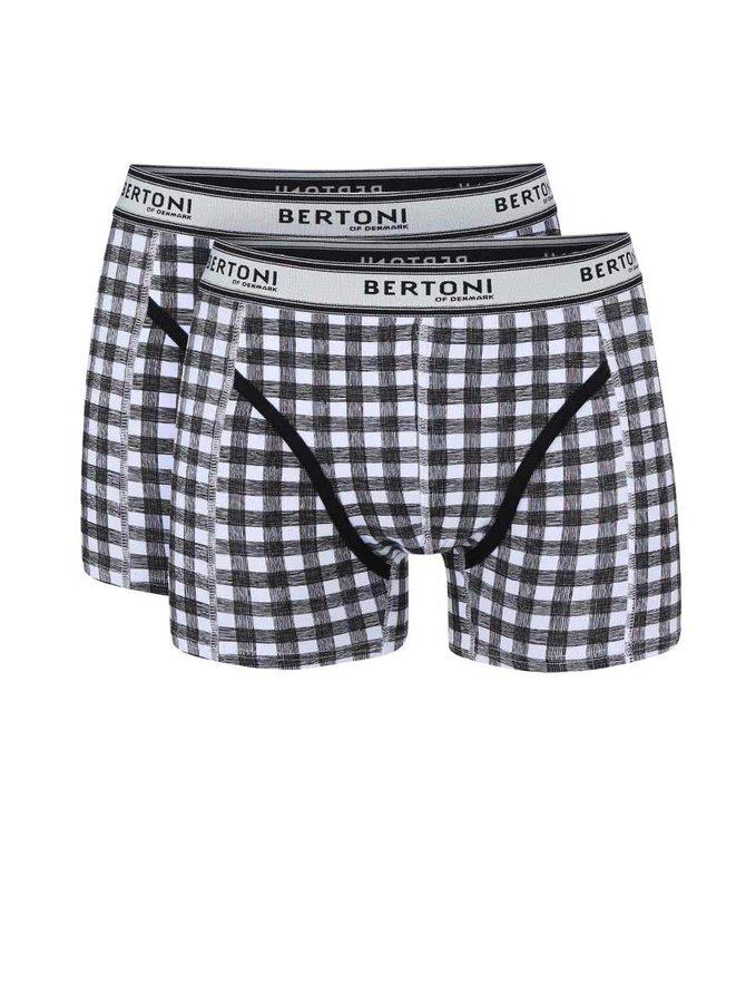 Kolekcia dvoch čiernych kockovaných boxeriek Bertoni Bertil