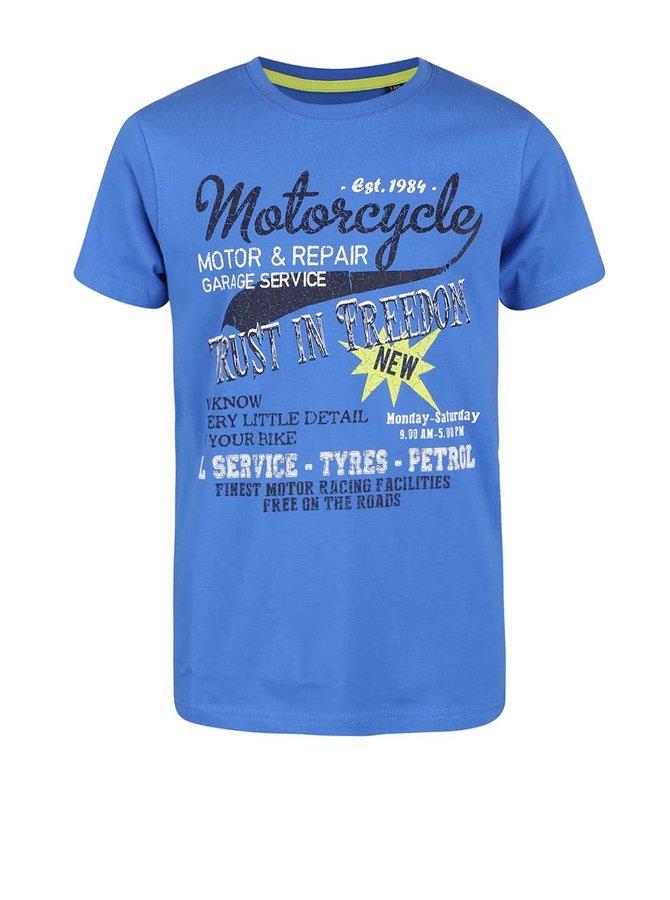 Modré klučičí triko s motorkářským potiskem Blue Seven