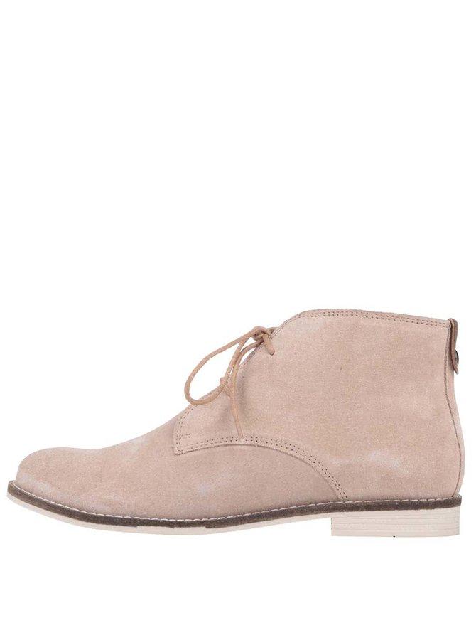 Krémové dámské kožené kotníkové boty s.Oliver