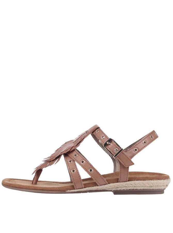 Hnedé kožené sandálky s kovovými cvočkami Tamaris